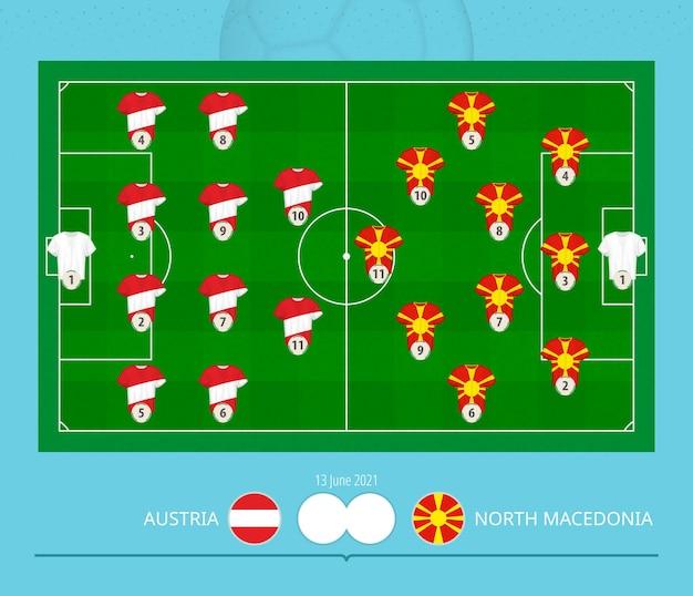 Partita di calcio austria contro macedonia del nord, sistema di formazione preferito dalle squadre sul campo di calcio.