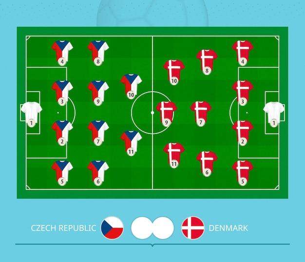 Partita di calcio repubblica ceca contro danimarca, sistema di formazione preferito delle squadre sul campo di calcio. illustrazione vettoriale.