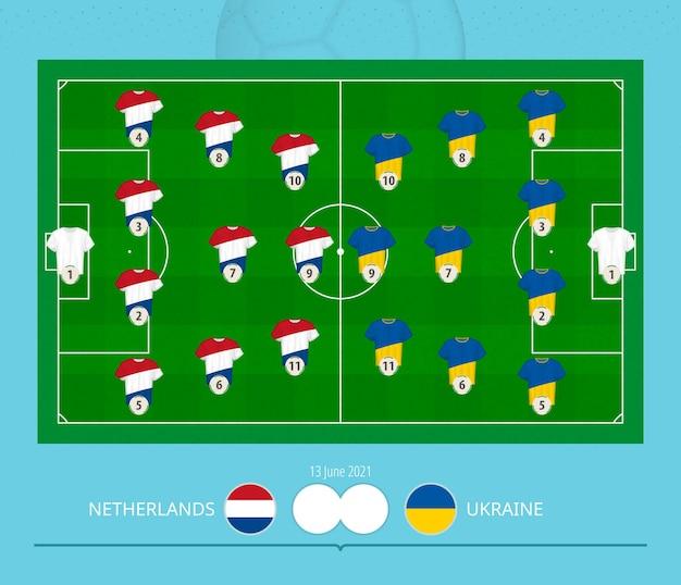 Partita di calcio paesi bassi contro ucraina, sistema di formazione preferito delle squadre sul campo di calcio.