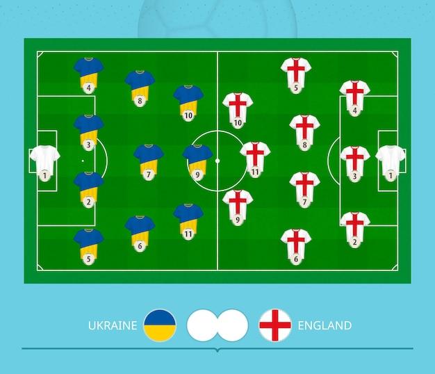 Partita di calcio ucraina contro inghilterra, sistema di formazione preferito delle squadre sul campo di calcio. illustrazione vettoriale.