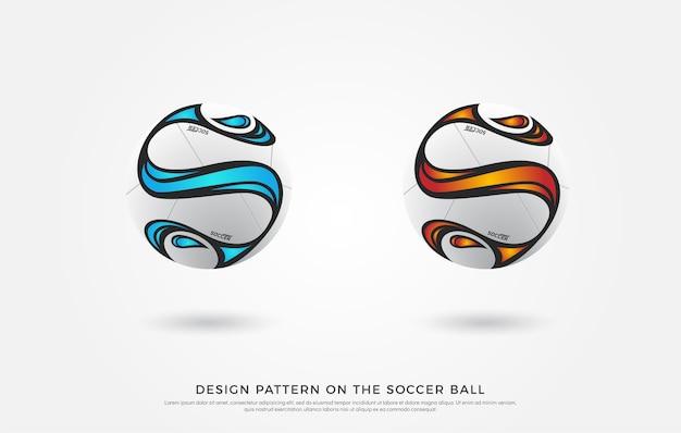 Modello di calcio sul pallone da calcio. blu rosso