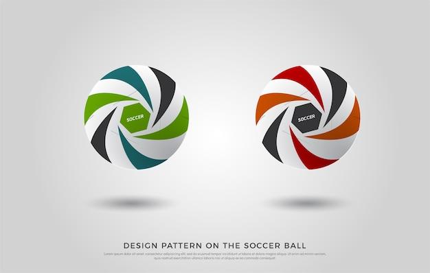 Modello di calcio sul pallone da calcio. verde, arancione e blu