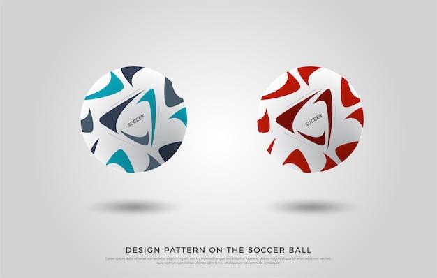 Modello di calcio sul pallone da calcio. rosso, nero e blu