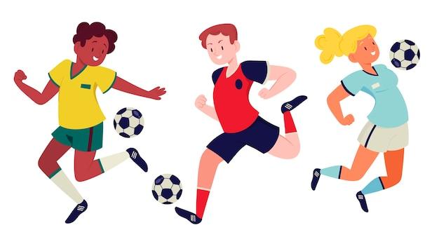 Disegno dell'illustrazione dei giocatori di calcio