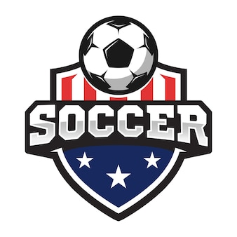 Logo professionale di calcio in stile piatto, pallone da calcio e scudo con stelle.