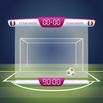 Tabellone segnapunti di calcio con visualizzazione del tempo e dei risultati