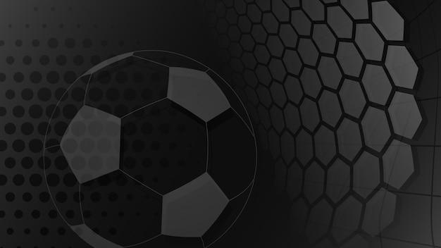 Sfondo di calcio o calcio con una grande palla nei colori neri