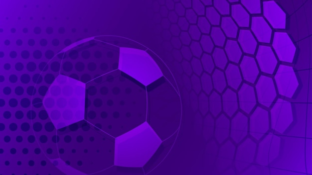 Sfondo di calcio o calcio con una grande palla in colori viola