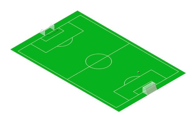 Calcio e campo sportivo da calcio isometrico.