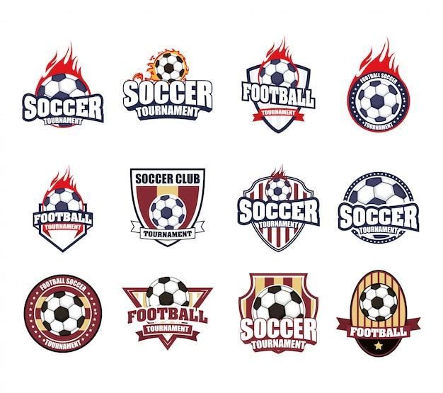 Manifesto di sport calcio calcio con set di icone di emblemi Vettore Premium