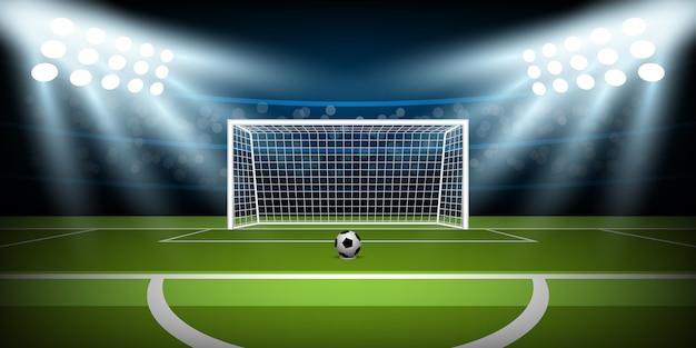 Arena dello stadio di calcio con palla in posizione di rigore