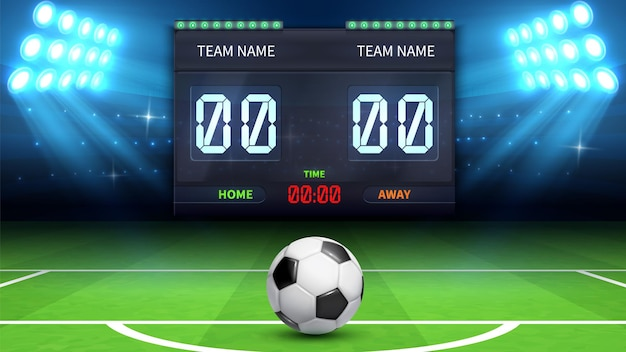 Sfondo stadio di calcio. pallone da calcio realistico nel campo verde. il tempo di calcio del tabellone segnapunti sportivo dello stadio e il risultato della partita di calcio visualizzano l'illustrazione di vettore. stadio di calcio, partita di calcio