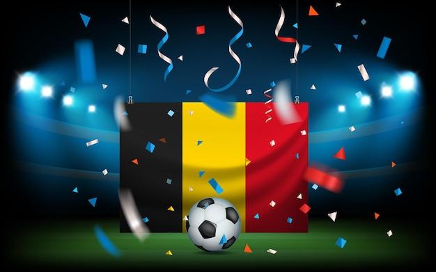 Stadio di calcio con la palla e la bandiera. belgia vince