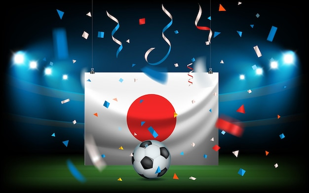 Stadio di calcio con la palla e la bandiera. il giappone vince