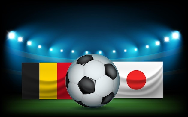 Stadio di calcio con la palla e le bandiere. belgio vs giappone