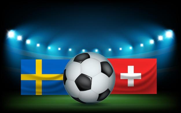 Stadio di calcio con la palla e le bandiere. svezia vs svizzera