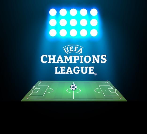 Stadio di calcio con una palla su un campo di calcio e faro con luce glitterata astratta