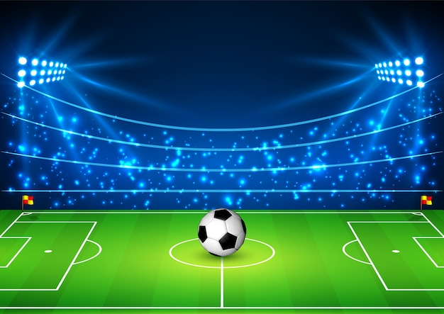 Stadio di calcio con una palla.