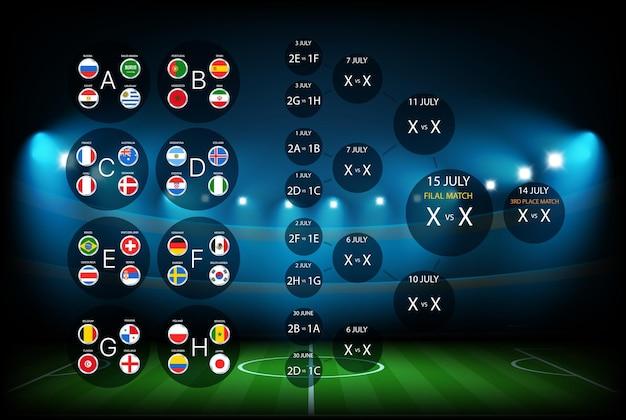 Schema del calendario dei tornei di calcio. modello di infografica