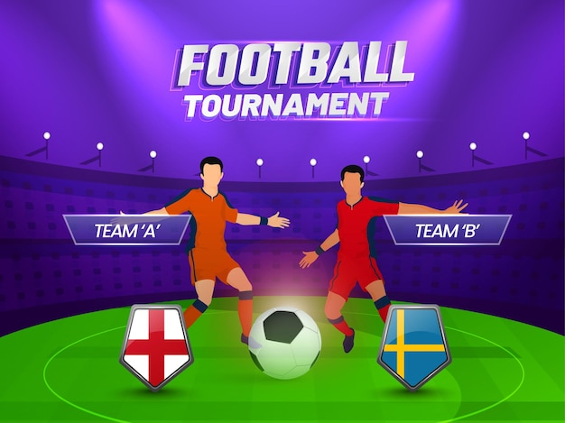 Concetto di torneo di calcio con due calciatori senza volto che partecipano ai paesi dell'inghilterra vs svezia su sfondo viola e verde dello stadio.