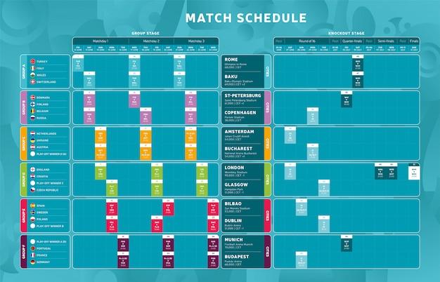 Fase finale del torneo di calcio calendario delle partite, modello