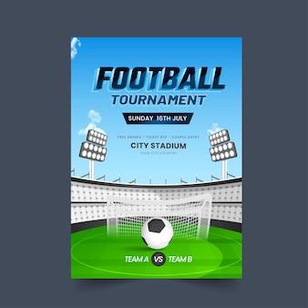 Design del poster del torneo di calcio con vista dello stadio e partecipazione della squadra a vs b.