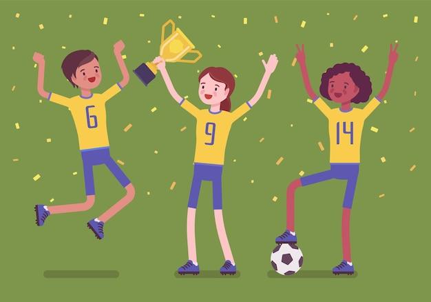 Squadra vincitrice di calcio con trofeo