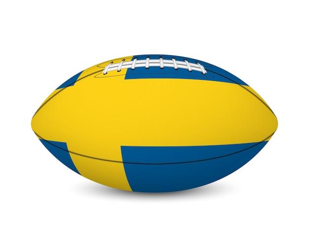Calcio con la bandiera della svezia, isolato su sfondo bianco.