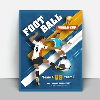 Volantino coppa del mondo di calcio o design di banner Vettore Premium