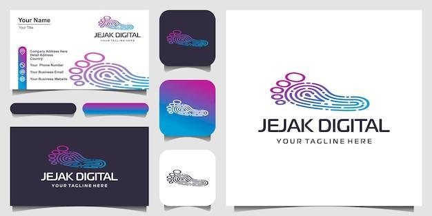 Ispirazione per il design del logo della tecnologia moderna digitale di impronta