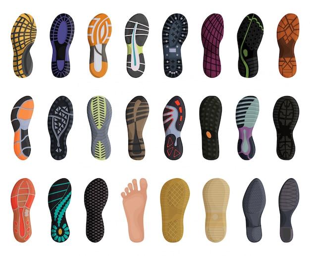Icona stabilita del fumetto della scarpa di impronta. illustrazione suola su sfondo bianco. fumetto isolato imposta scarpa impronta icone.