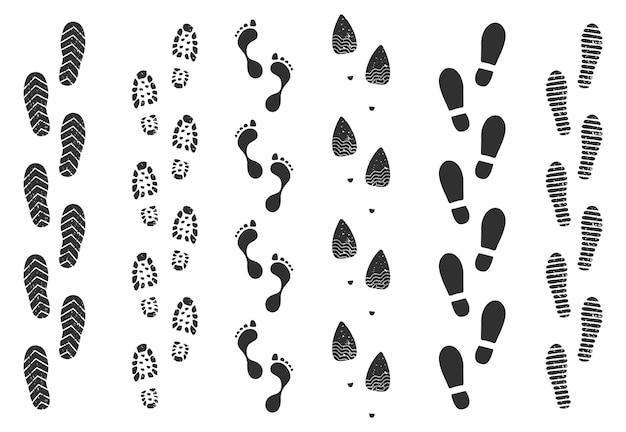 Insieme di vettore della siluetta dei sentieri del passo di camminata umana della traccia dell'impronta