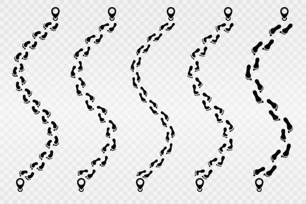 Icona di vettore di impronta. percorso di tracciamento delle impronte umane. passi. traccia dell'impronta umana.