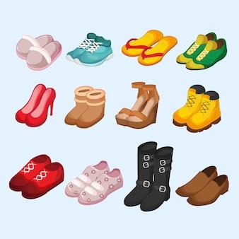 Set isometrico di footware