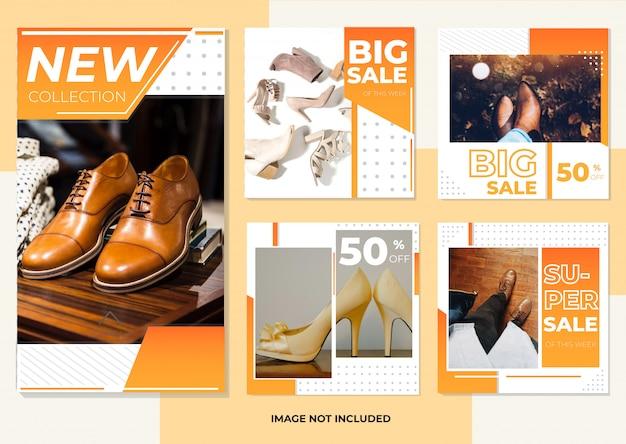 Raccolta di modelli di post e storie sui social media di moda per calzature Vettore Premium