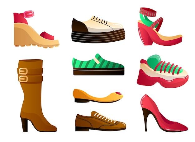 Calzature piatte icone colorate impostate per diverse stagioni. scarpe eleganti e alla moda di vario tipo per uomo e donna.