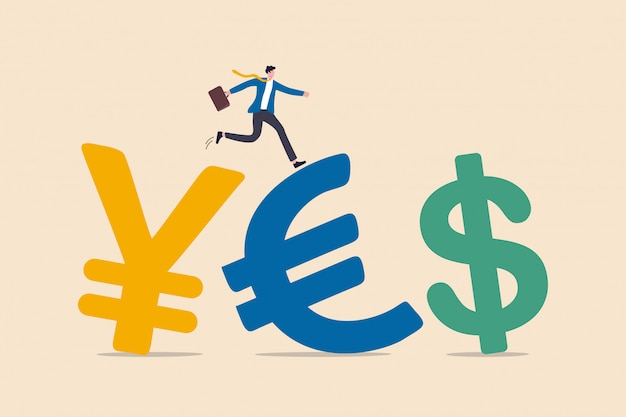 Scambio di valuta estera tra valuta intorno alla parola o al concetto di flusso del fondo di investimento, vestito da portare dell'investitore dell'uomo d'affari di successo che cammina sul simbolo di valuta dei soldi di yen, dell'euro e del dollaro americano.
