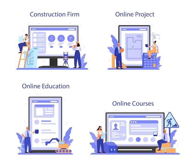 Servizio online foreman o set di piattaforme.