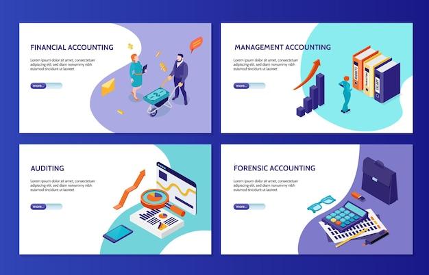 Bandiere orizzontali di contabilità e audit forense finanziarie e gestionali impostate isometriche