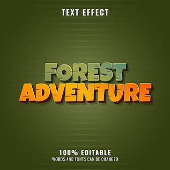 Avventura nella foresta divertente vecchio stile effetto testo