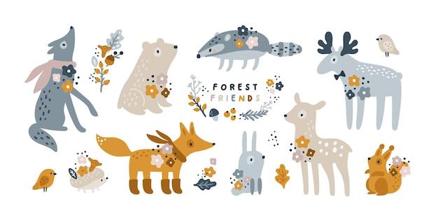 Collezione di animali della foresta per bambini volpe lupo coniglio cervo alce tasso scoiattolo riccio uccello