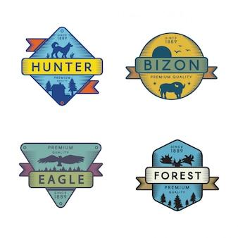 Insieme di modelli di logo di animali della foresta