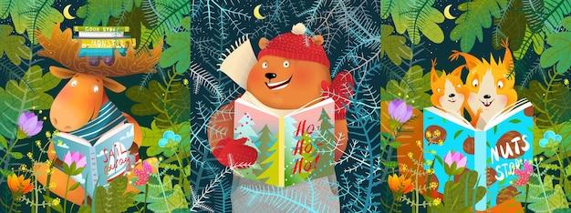 Animali della foresta che leggono la storia del libro nella foresta. orso alce e scoiattolo studiano o leggono libri nella natura, personaggi animali incorniciati da foglie e alberi.