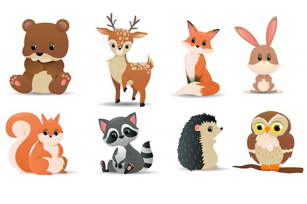Set di animali della foresta. simboli della foresta