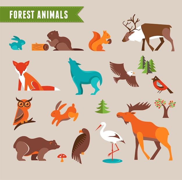 Animali della foresta - set vettoriale di icone e illustrazioni. illustrazione vettoriale