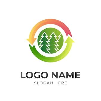 Logo della freccia della foresta, foresta e freccia, logo combinato con stile di colore verde e arancione 3d