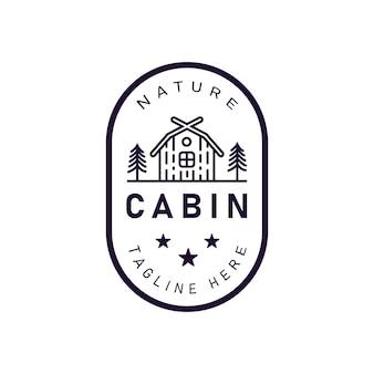 Illustrazione di vettore dell'emblema del logo della cabina della foresta con cabina e pini retrò hipster line art