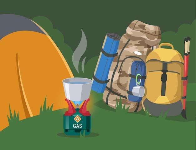 Campeggio nella foresta con illustrazione piatta dell'attrezzatura