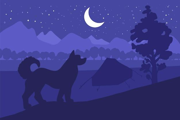 Campeggio nella foresta con il migliore amico: il cane. vettore