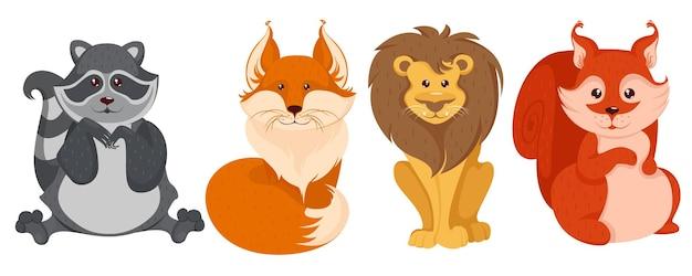 Animali del fumetto della foresta Vettore Premium